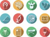 Colored vector icons for neurosurgery — Stock Vector