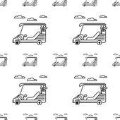 Seamless vector background for golf. Golf cart — Stock Vector