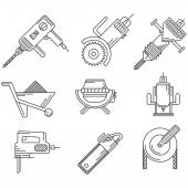 Black outline vector icons for construction equipment — Vettoriale Stock