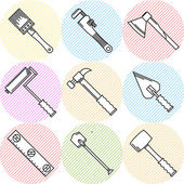 Stylish vector icons for woodwork tools — Stock Vector
