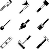 Black vector icons for woodwork tools — Stock Vector