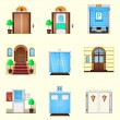 Stylized colorful vector icons for door — Stock Vector #62190441