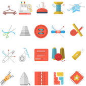 Flat icons vector collection of sewing items — Stock Vector