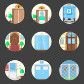 Colored icons vector collection of entrance doors — Vector de stock