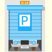 Colored flat vector icon for parking gate — Stock Vector