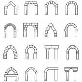 Black line icons vector collection of arches — Stock Vector