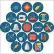 Flat icons vector collection of sewing items — Stock Vector #62391913