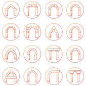 Sketch icons vector collection of different types arch — Stock Vector