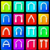 Colored icons collection of arches — Stock Vector