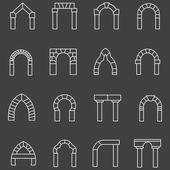 White flat line vector icons for archway — Stock Vector