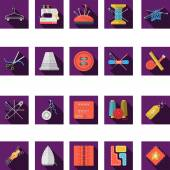 Flat color icons vector collection of sewing — Stock Vector