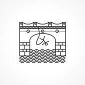 Black line vector icon for rope jumping — Cтоковый вектор