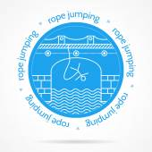 Vector illustration with round blue icon and text for rope jumping. — Vecteur