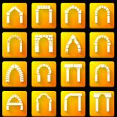 Flat icons vector collection for archway — Stock Vector