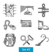 Black vector icons for rock climbing accessories — Stock Vector