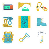 Flat icons vector collection of mountaineering equipment — Stock Vector