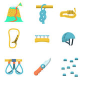 Flat color vector icons for climbing outfit — Stock Vector