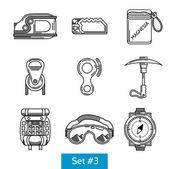 Black vector icons for rock climbing equipment — Stock Vector