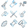 Flat line icons vector collection of self-defense — Stock Vector #64008561