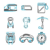 Flat line vector icons for mountaineering equipment — Stock Vector