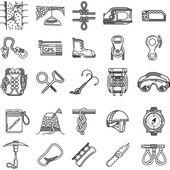 Black icons vector collection for rock climbing — Stock Vector