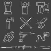 フラット ライン アイコン ベクトル自衛アクセサリー コレクション — ストックベクタ