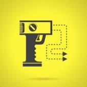 Black stun gun flat vector icon — Stock Vector
