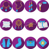 Flat purple vector icons for handmade gifts — Stock Vector