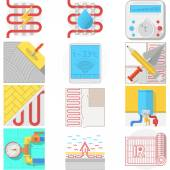 Color icons vector collection for underfloor heating — Stock Vector