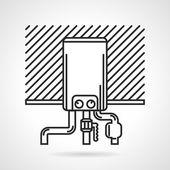 Black line vector icon for heating boiler — Stock Vector