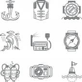 Snorkeling black line vector icons — Stock Vector
