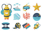 Summertime flat color icons vector collection — Stock Vector