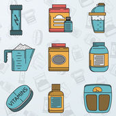 Sport supplements flat icons vector collection — Stock vektor