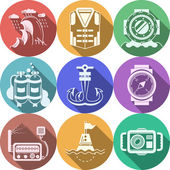 Diving flat color icons vector collection — Stock Vector
