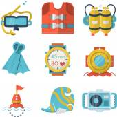 Flat color style diving vector icons — Stock Vector