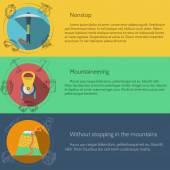 Mountaineering equipment flat color vector illustration — Stock Vector