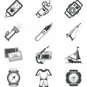 Diving black vector icons — Stock Vector