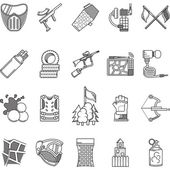 Black line icons vector collection for paintball — Stock Vector