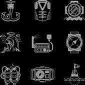 White line vector icons for marine equipment — Vector de stock