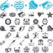 Nautical icons vector collection — ストックベクタ