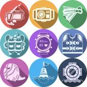 Colored flat vector icons for diving — Stockvektor