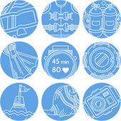 Round blue vector icons for diving — Stock Vector