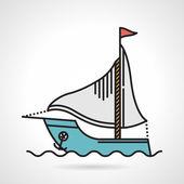 Plachetní jachty ploché vektorové ikony — Stock vektor
