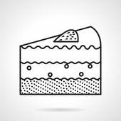 Piece of cake black line vector icon — Stockvektor