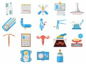 Flat design icons vector collection of gynecology — Stock Vector