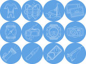 Blue round icons vector collection of diving — Stock Vector