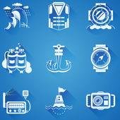 Marine elements white vector icons — Stock Vector