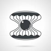 Scallop with gem black vector icon — Vettoriale Stock