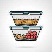 Lunch box flat color vector icon — Stock Vector