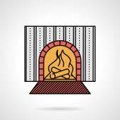 Fire place flat color vector icon — Stock Vector